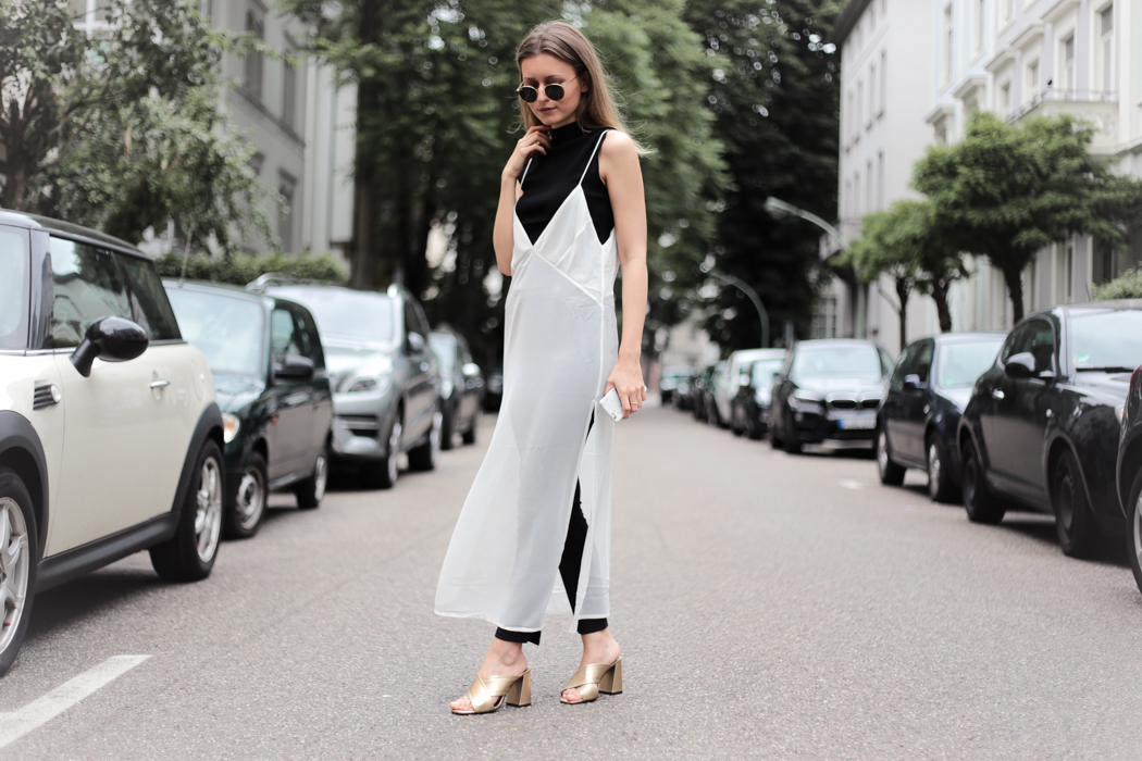 Slip Dress & Gold Mules