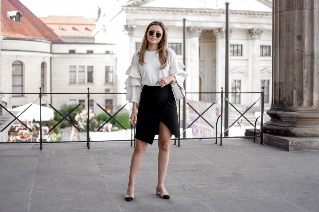 Frill Top, Wrap Skirt, Lanvin Bag & Chanel Pumps