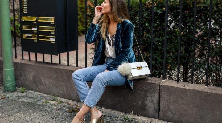 Velvet Blazer, Lace Top & Jeans