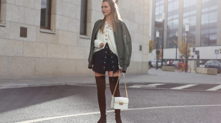 LACE UP KNIT, BOMBER JACKET & OVER THE KNEE BOOTS
