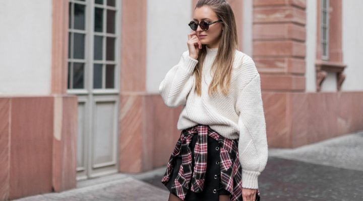MIRRORED SUNGLASSES, PLAID SHIRT & COZY KNIT