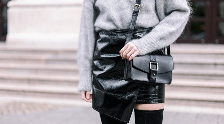 FLUFFY KNIT, PVC SKIRT & OVER THE KNEE BOOTS