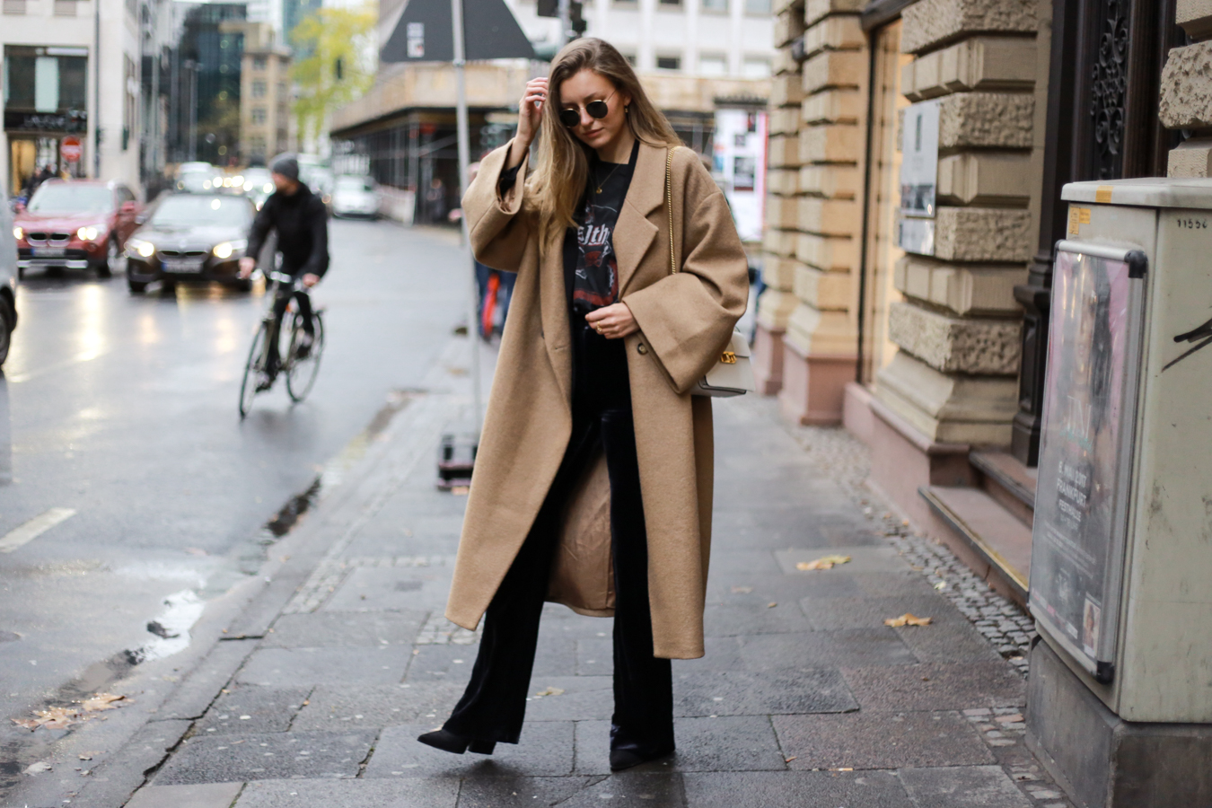 CAMEL COAT, VELVET PANTS & BAND SHIRT