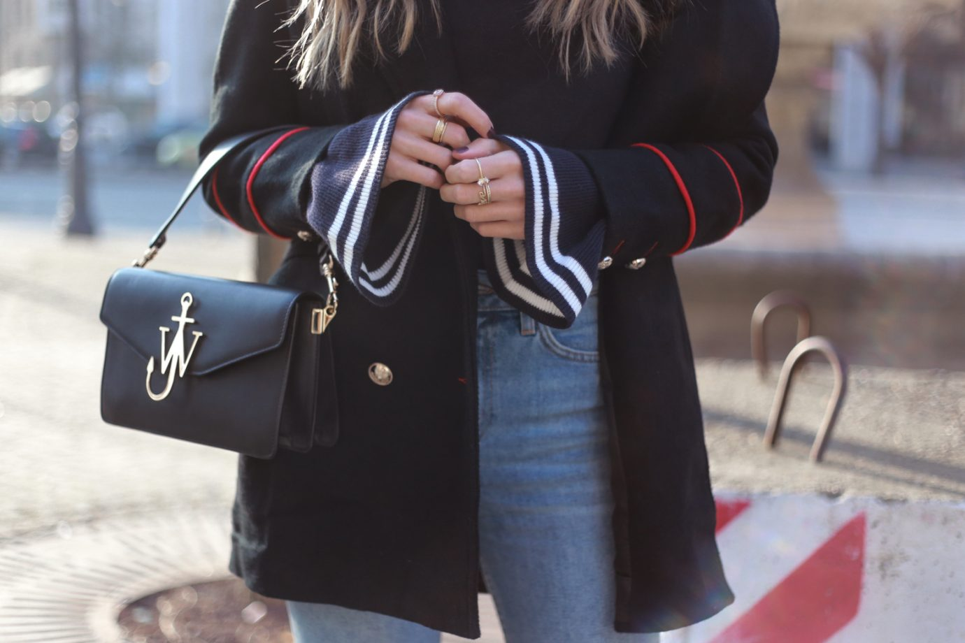 FLOUNCE CUFF SWEATER, J. W. ANDERSON BAG, GUCCI MULES