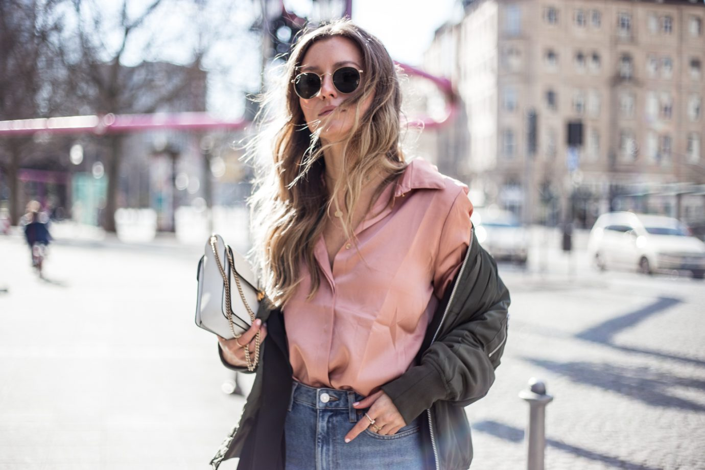 BOMBER JACKET, MULES, SATIN SHIRT