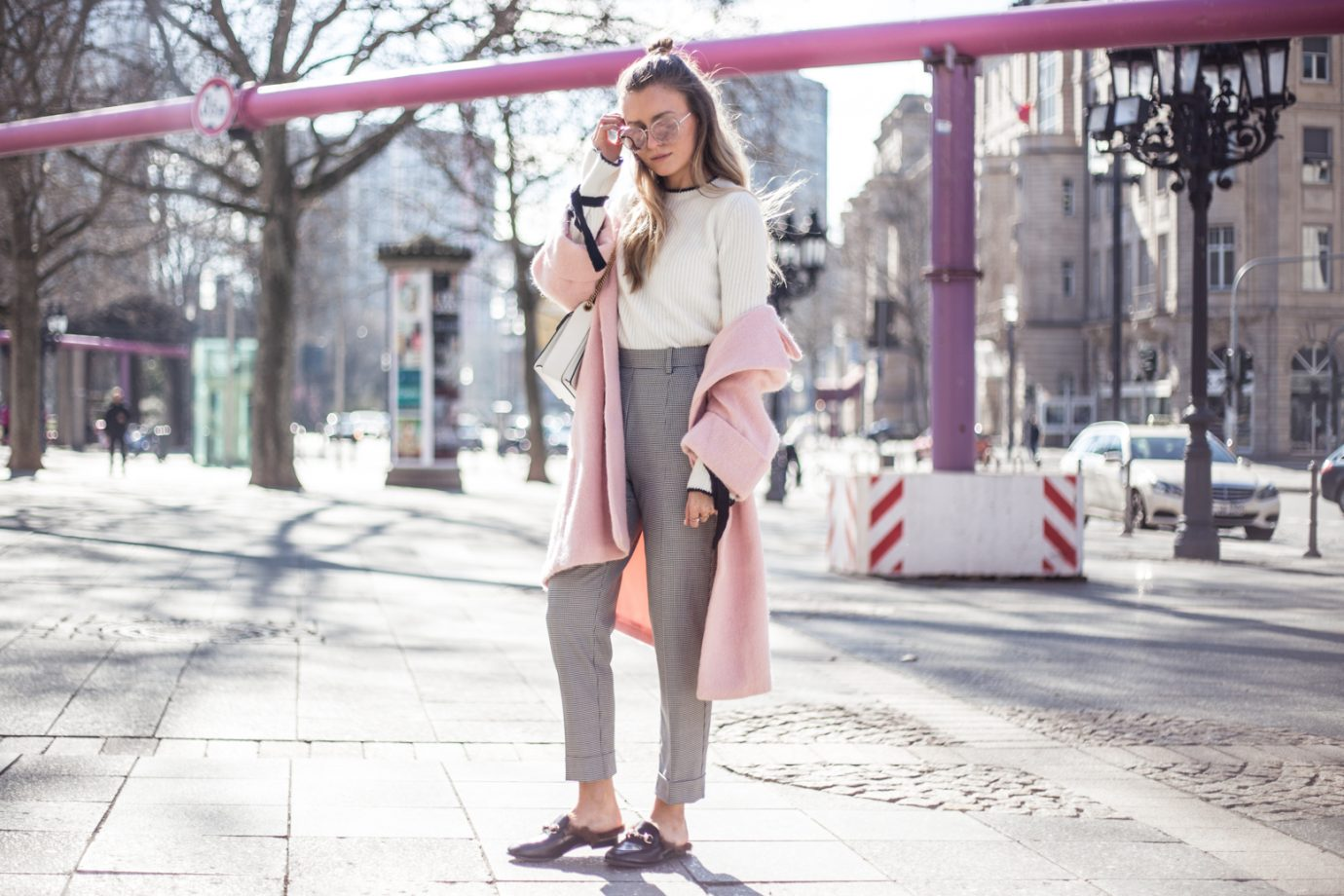 PINK COAT, FURRY SLIPPER, DIOR SUNNIES