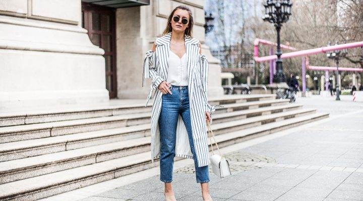STRIPED COLD SHOULDER COAT