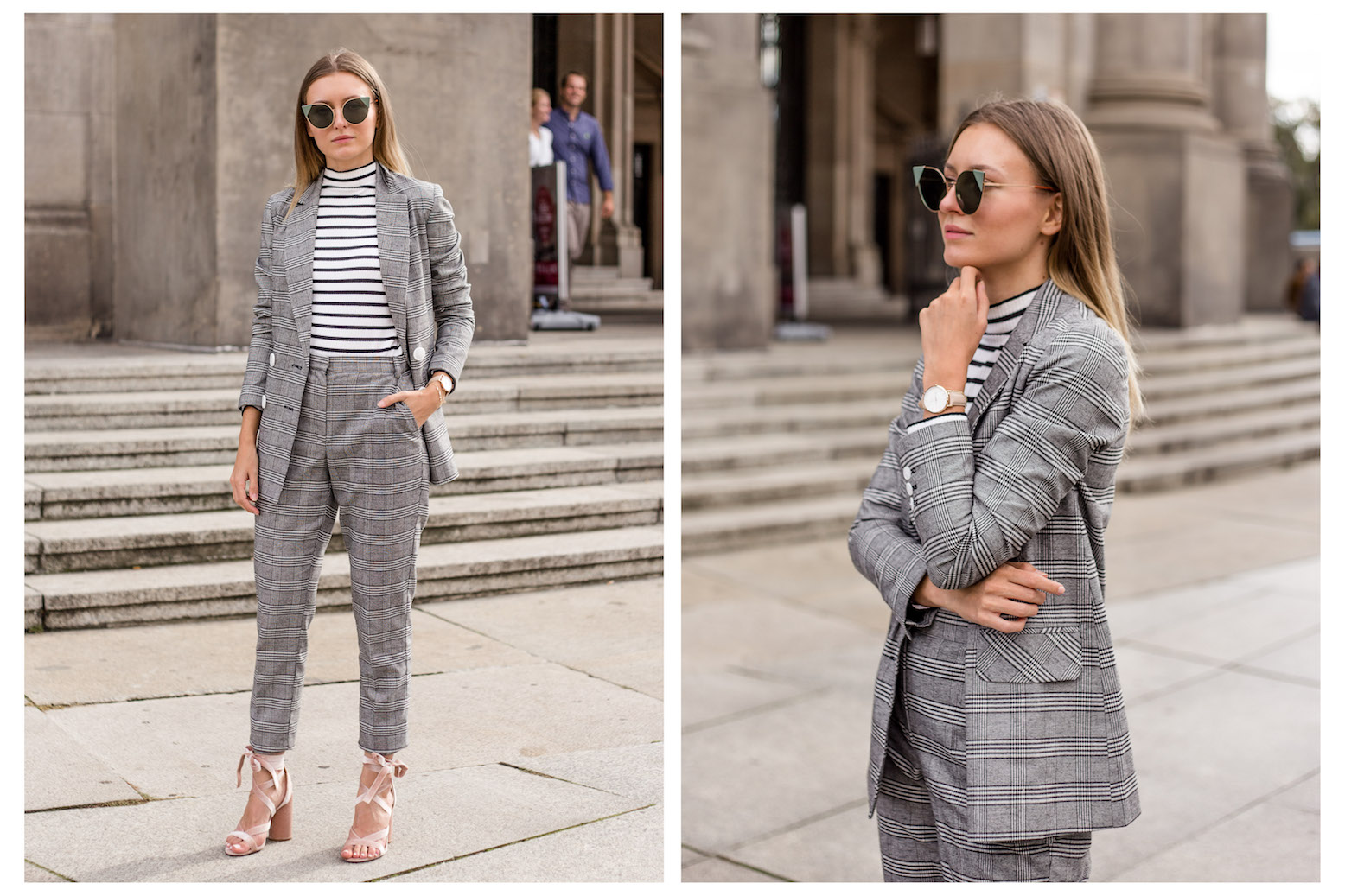 PLAID SUIT & VELVET SANDALS