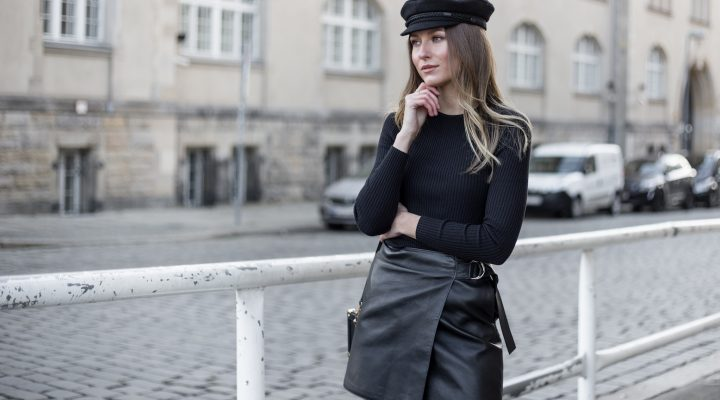 LEATHER SKIRT & BAKER BOY CAP